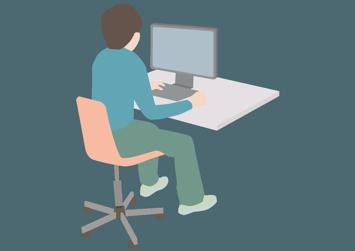 机に向かって黙々と勉学に勤しむ姿のイメージ画像